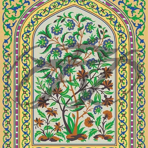 Fresco work at Lahore Fort Wall Mural 011