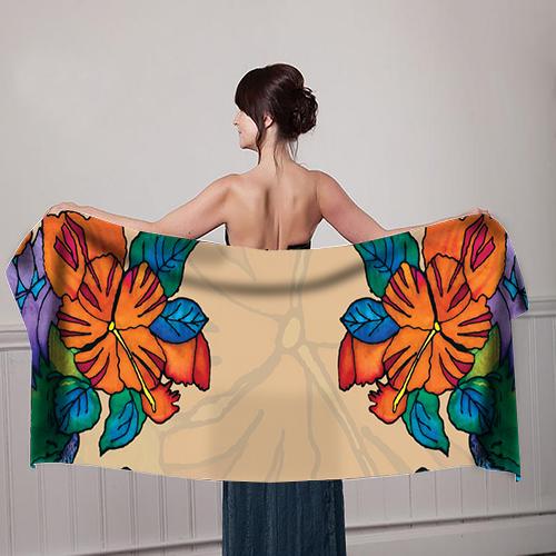 Orange-Flower-design-Beige--Girl-with-scarf-mockup