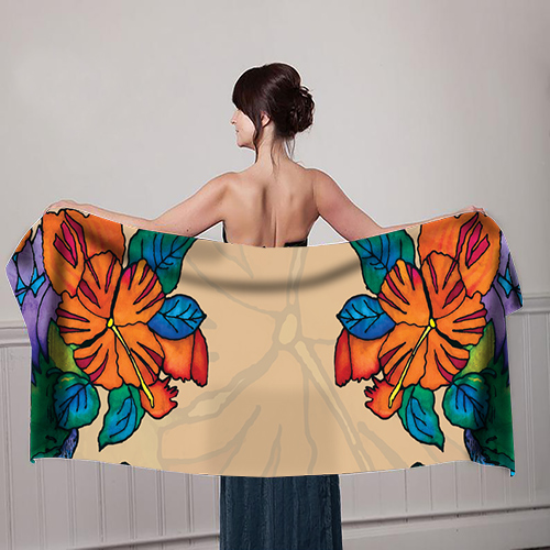 Orange-Flower-design-Beige--Girl-with-scarf-mockup